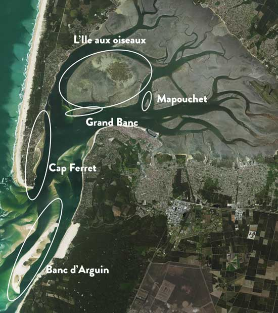 Aerial view of the Arcachon Bay